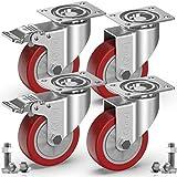 GBL - 4 Rollen für Möbel + Schrauben 100mm 600KG Transportrollen Set | Lenkrollen mit bremse | Schwerlastrollen rollen für Palettenmöbel | Möbelrollen