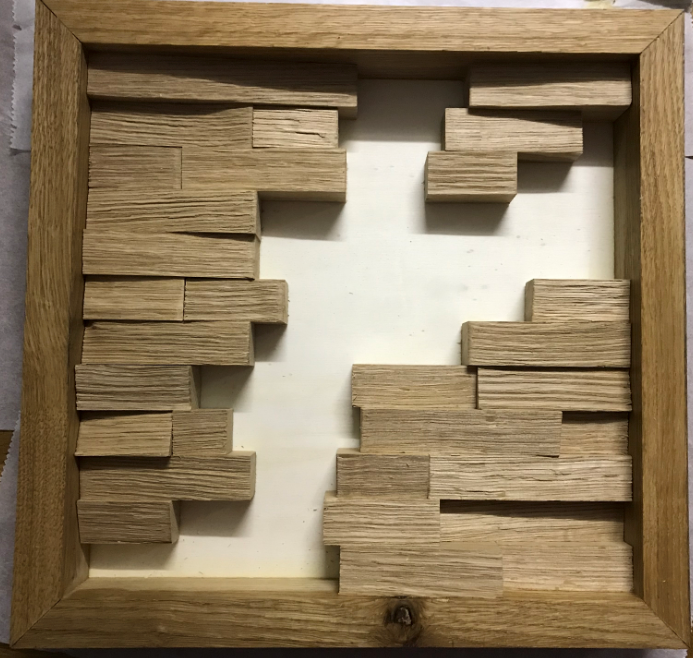 Moosbild selber machen Holzleisten im Rahmen