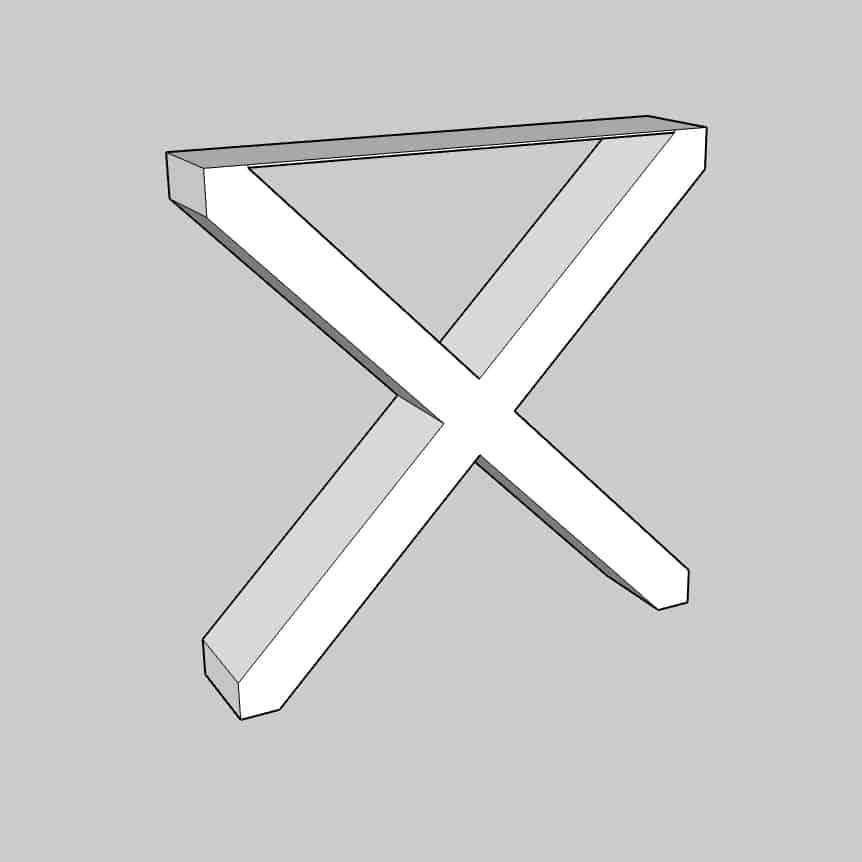 Ein Kreuzgestell eignet sich ebenfalls als Gestell für einen Couchtisch.